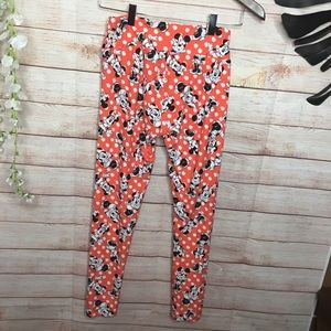 LuLaRoe Orange Minnie Mouse Leggings One size